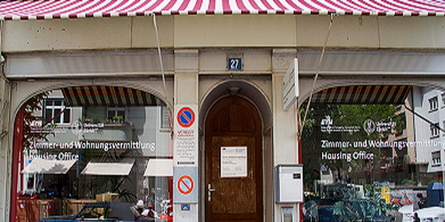 Entrance to the housing office at Sonneggstrasse in Zurich